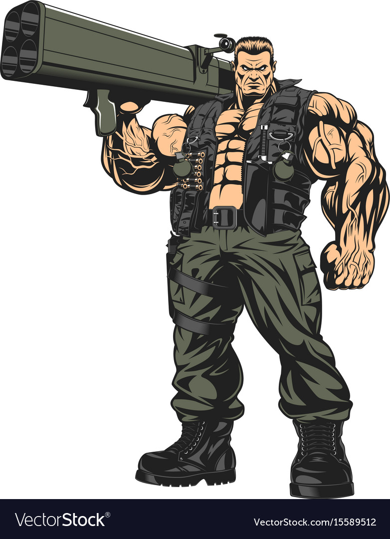 Armed strong soldier