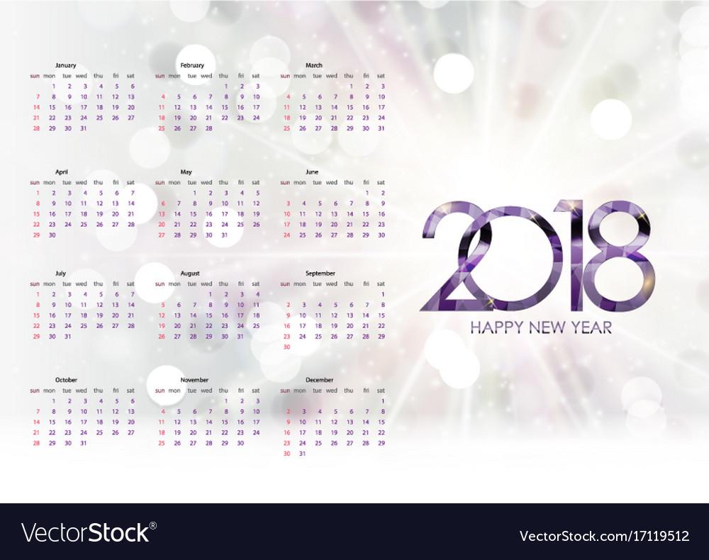 Calendar 2018 week starts from sunday