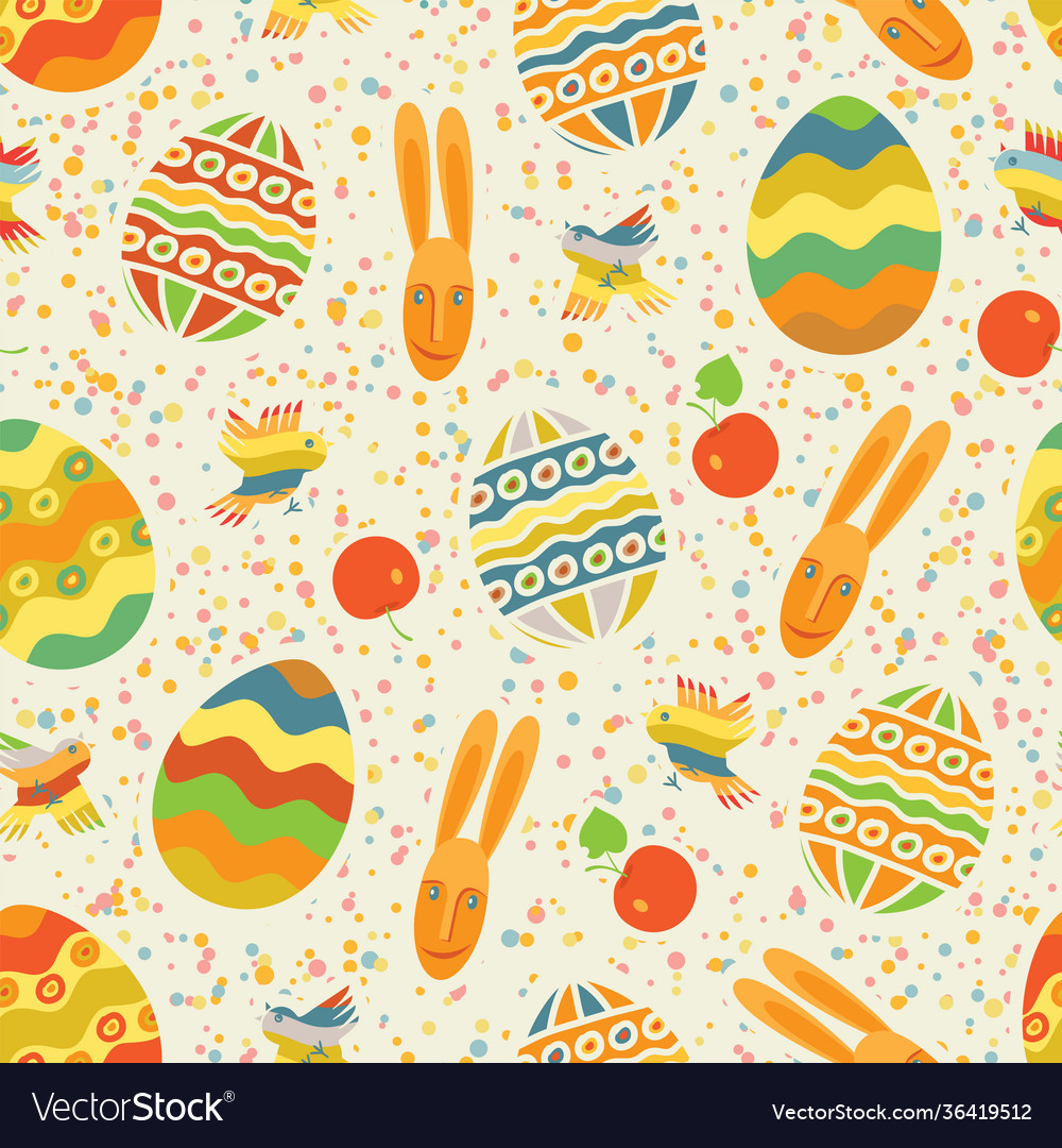 Easter seamless pattern with cute rabbit and eggs