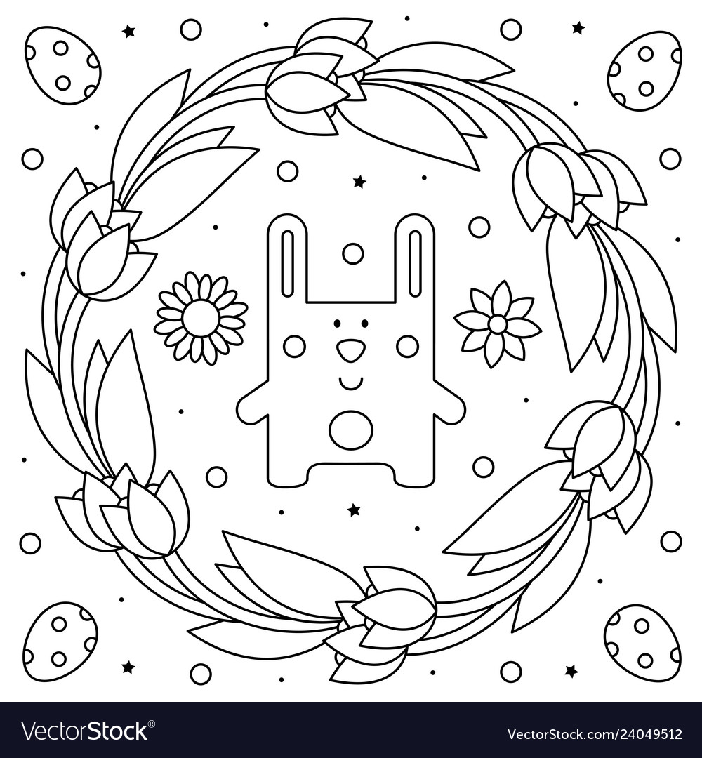 Easter Wreath. Coloring Page. Black And White Vector Illustration ...   1080x1000