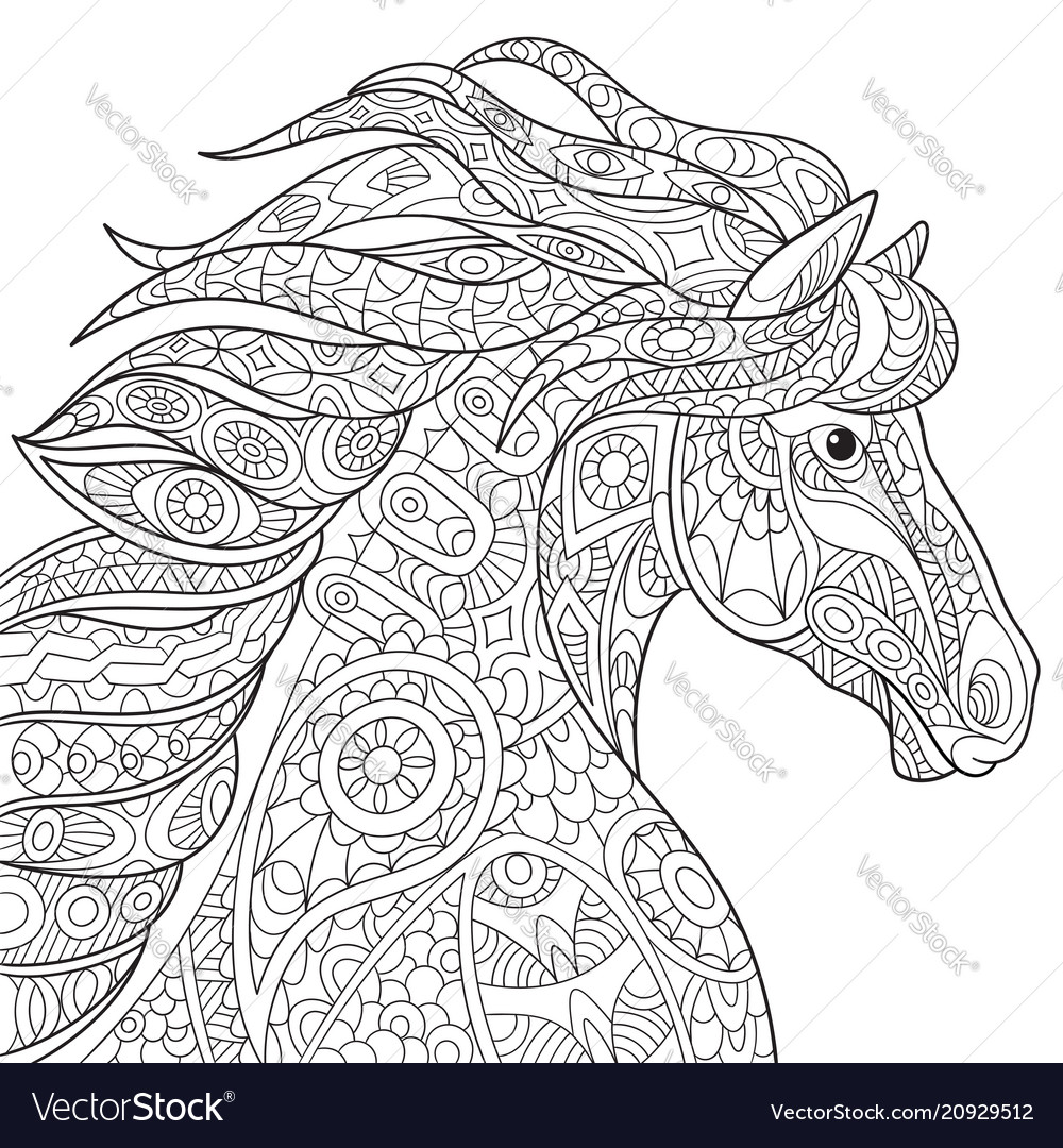 Mustang horse coloring page Royalty Free Vector Image