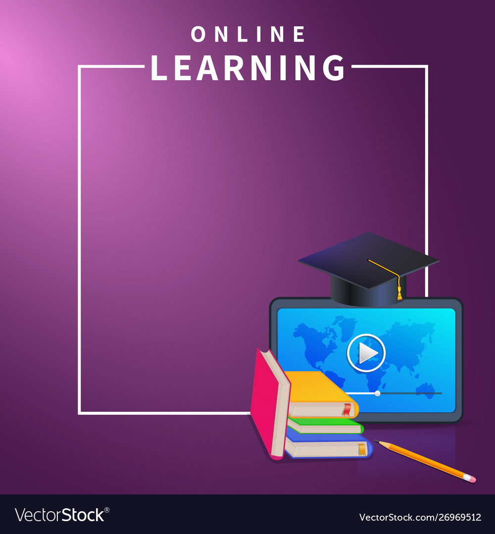 Online Education Or E Learning Banner Template On Vector Image