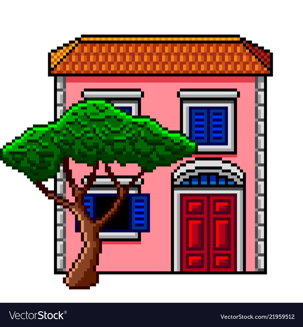 Pixel art pink italian house with stone-pine