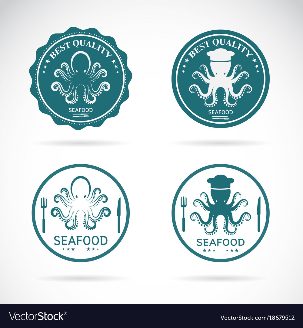 Set of octopus seafood labels on white
