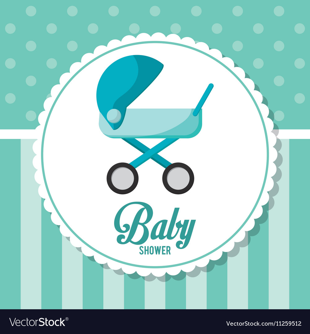 Stroller of baby shower card design