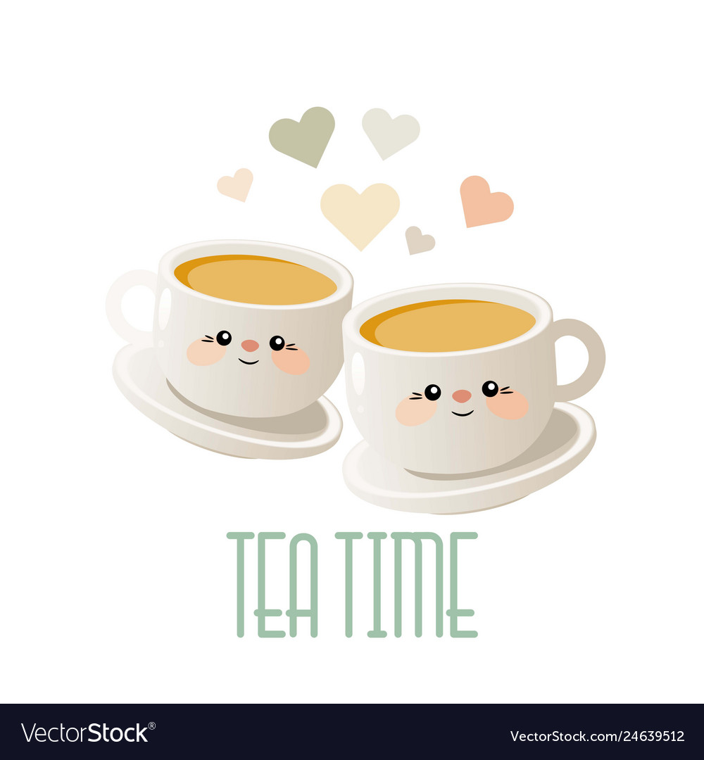 Tea time cute with two cups of tea