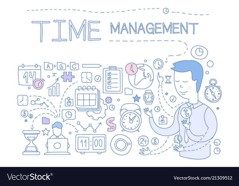 Time management set hand drawn business planning