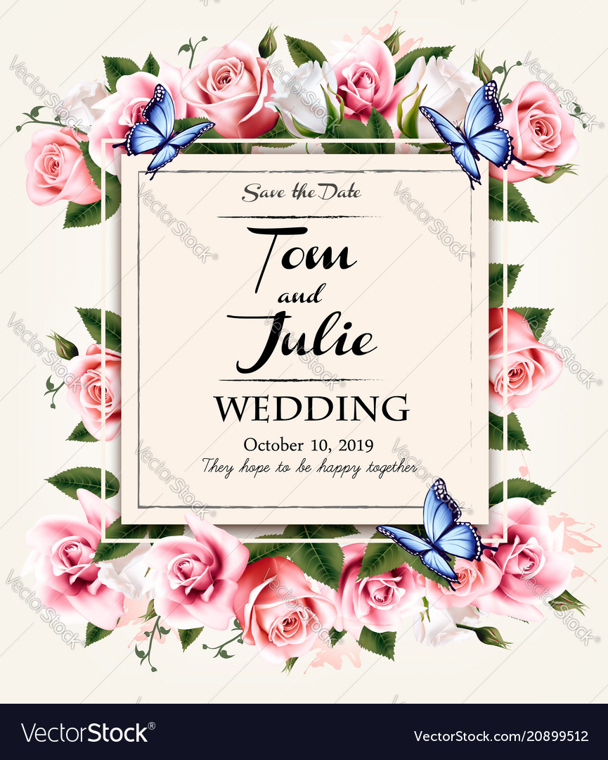 Vintage wedding invitation desing with coloful