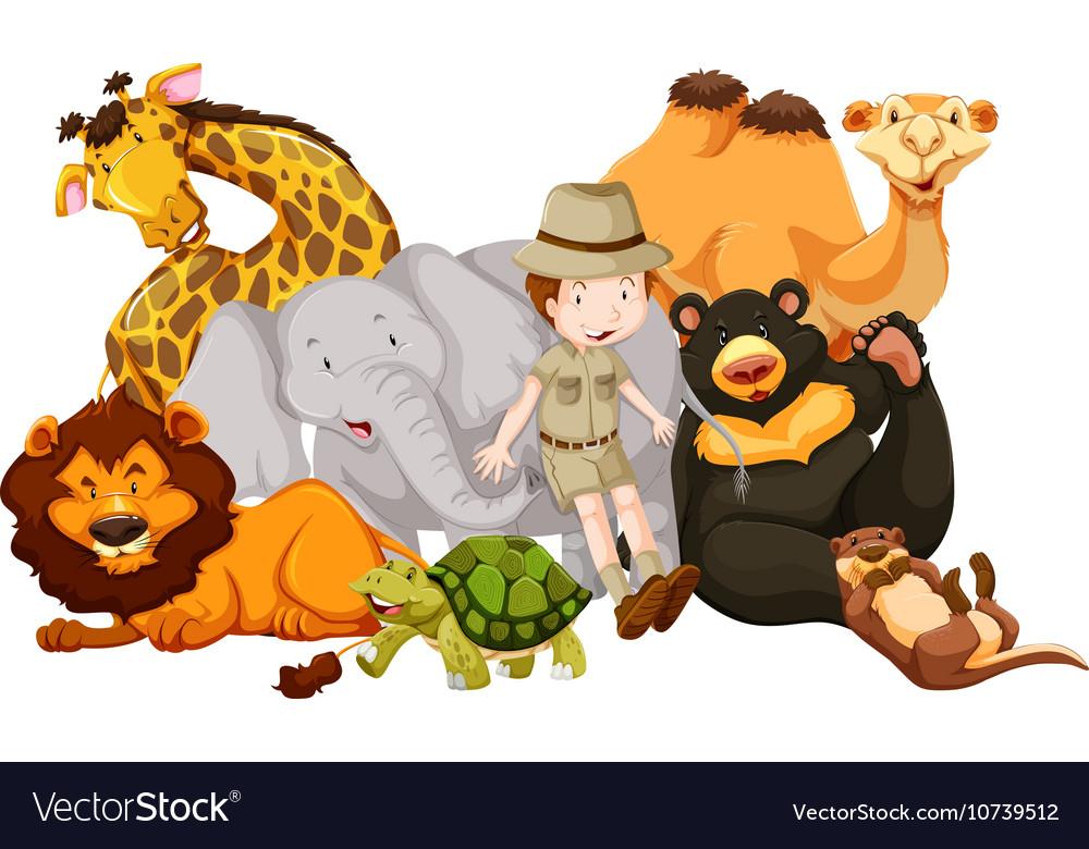 Wild animals and safari kid