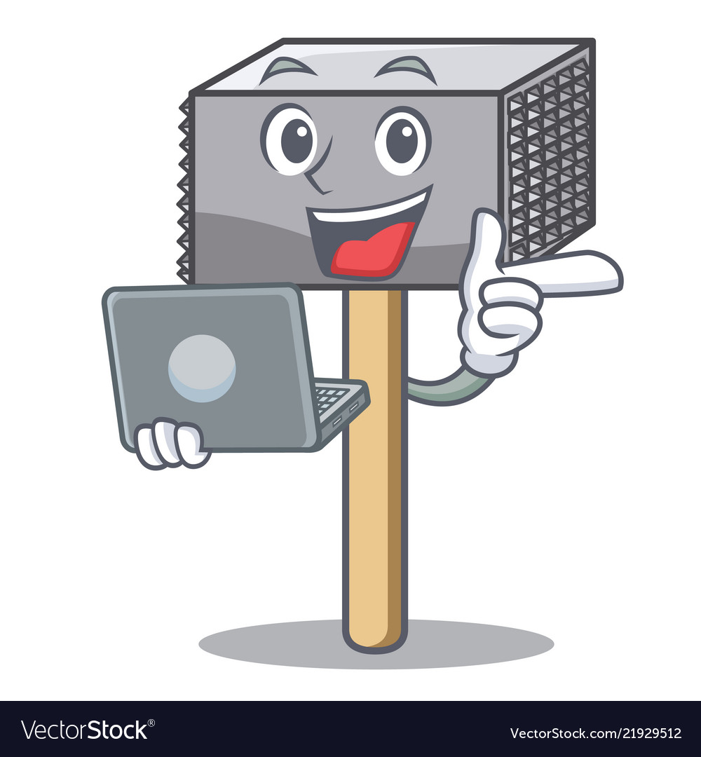 With laptop character of metallic meat tenderizer
