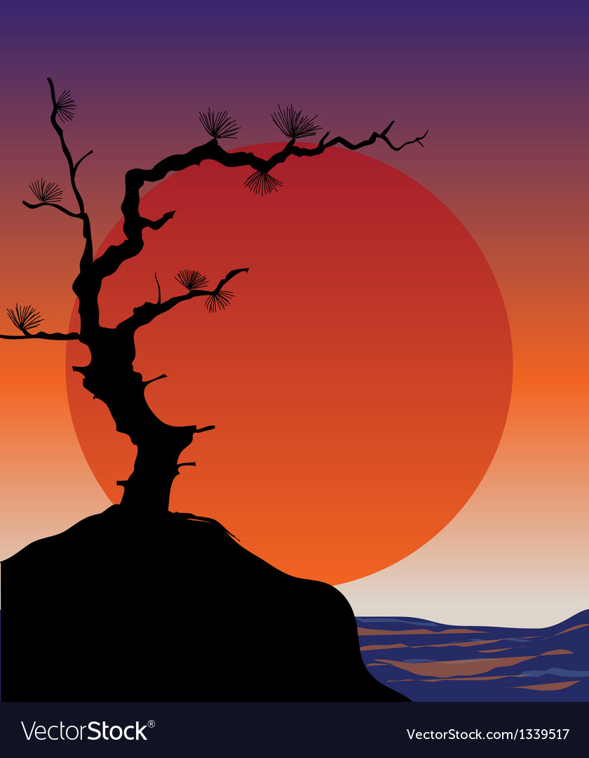 Abstract japanese background - sunset