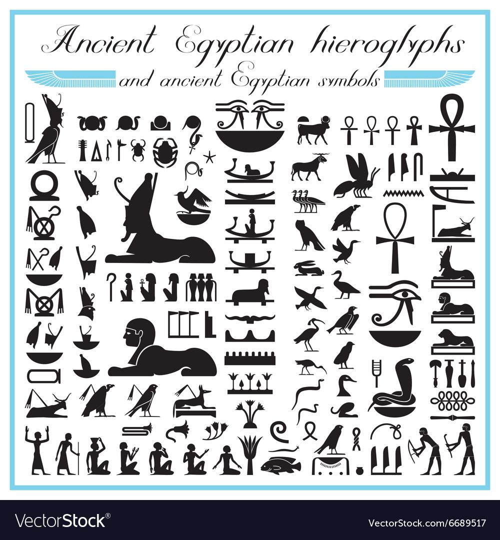 Ancient Egyptian Hieroglyphs And Symbols Vector Image