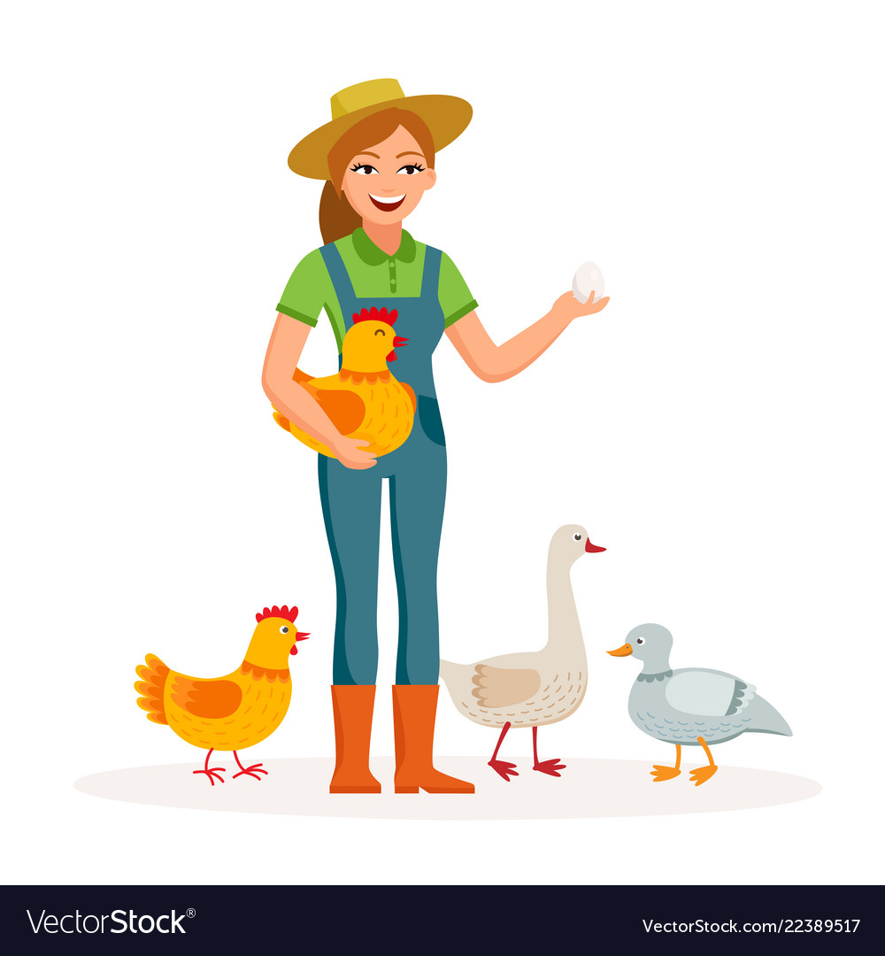 Cheerful girl farmer is holding an egg and cute