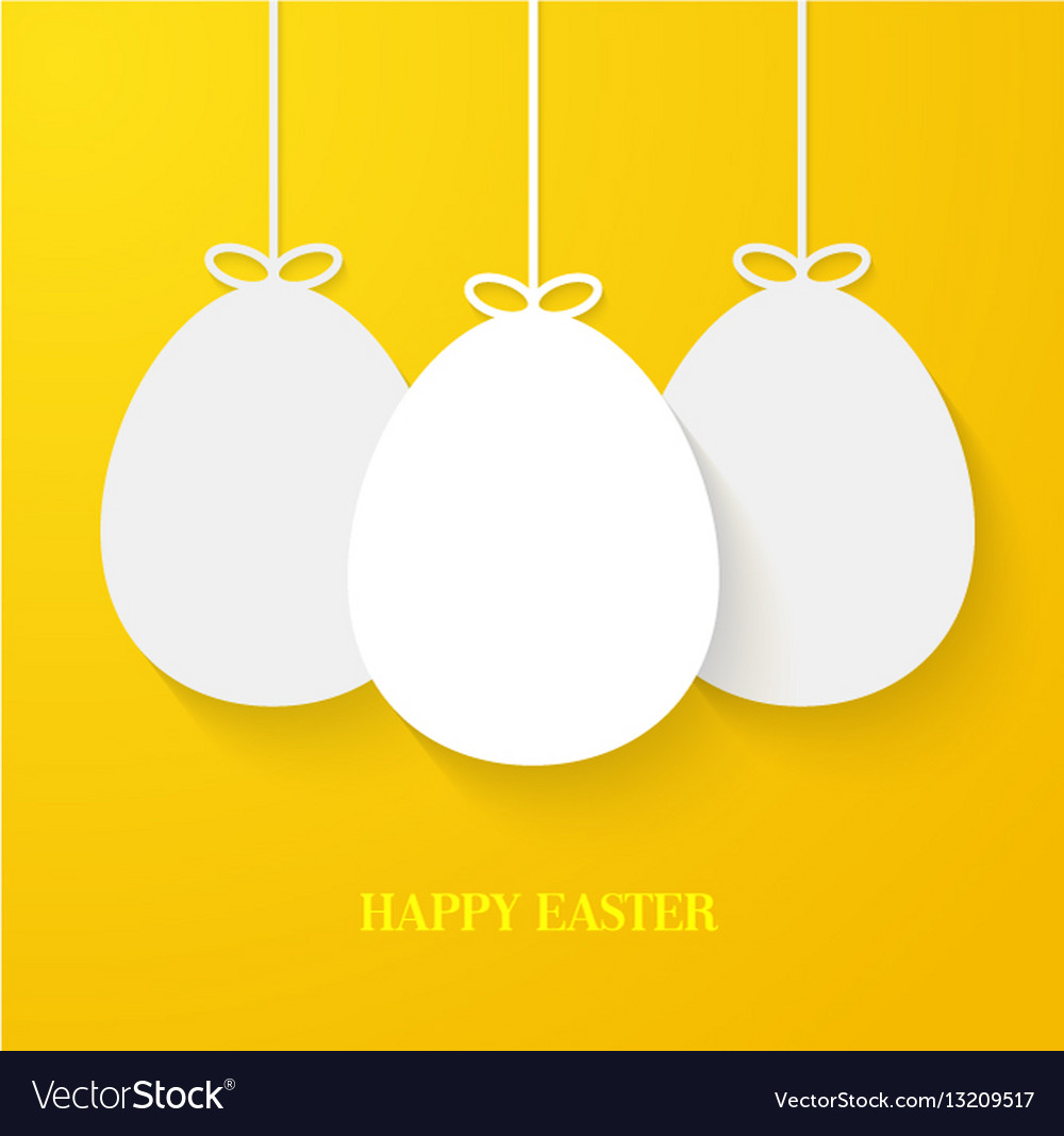 Easter greeting card with hanging paper eggs