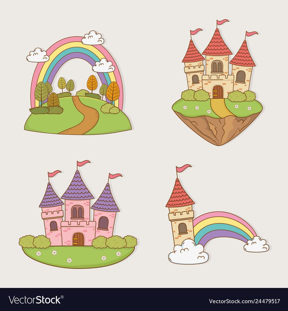 Fairytale castles set landscapes