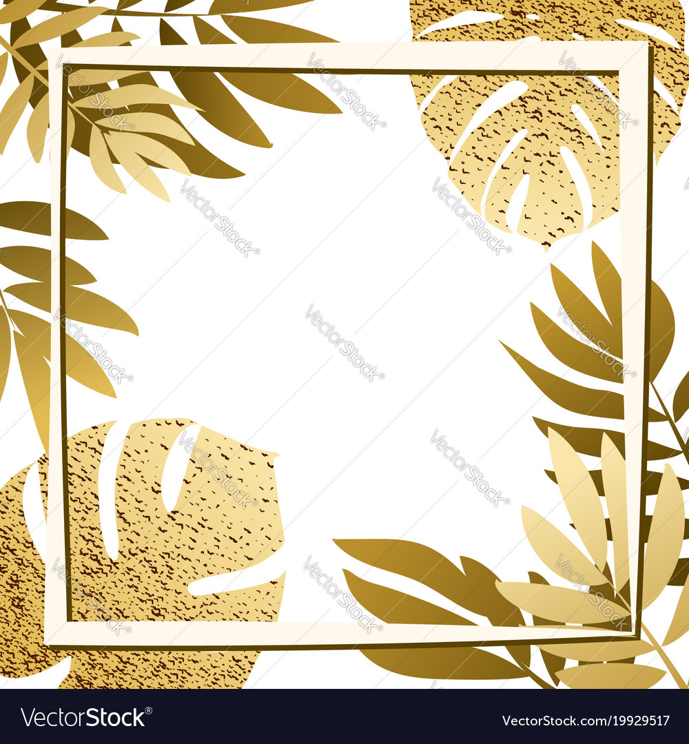 Golden tropical leaves with frame