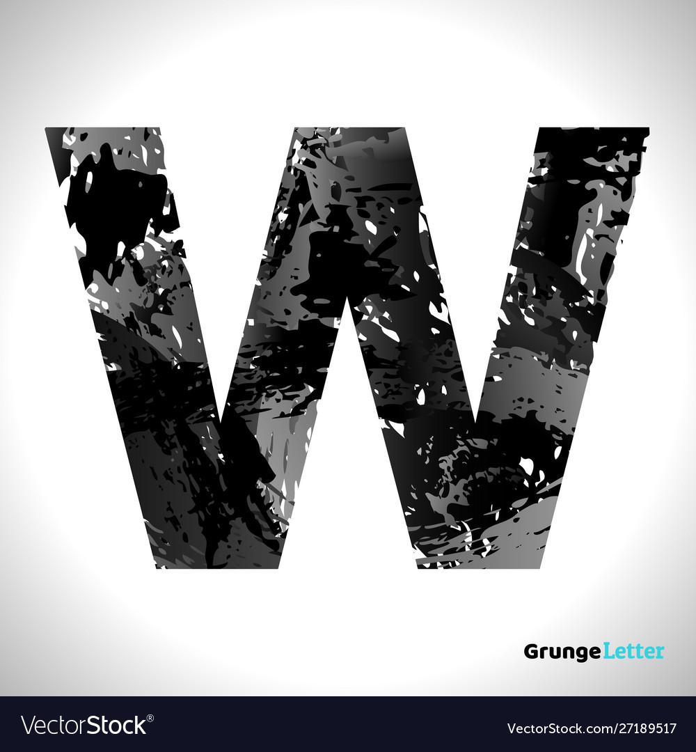 Grunge letter w black font sketch style symbol