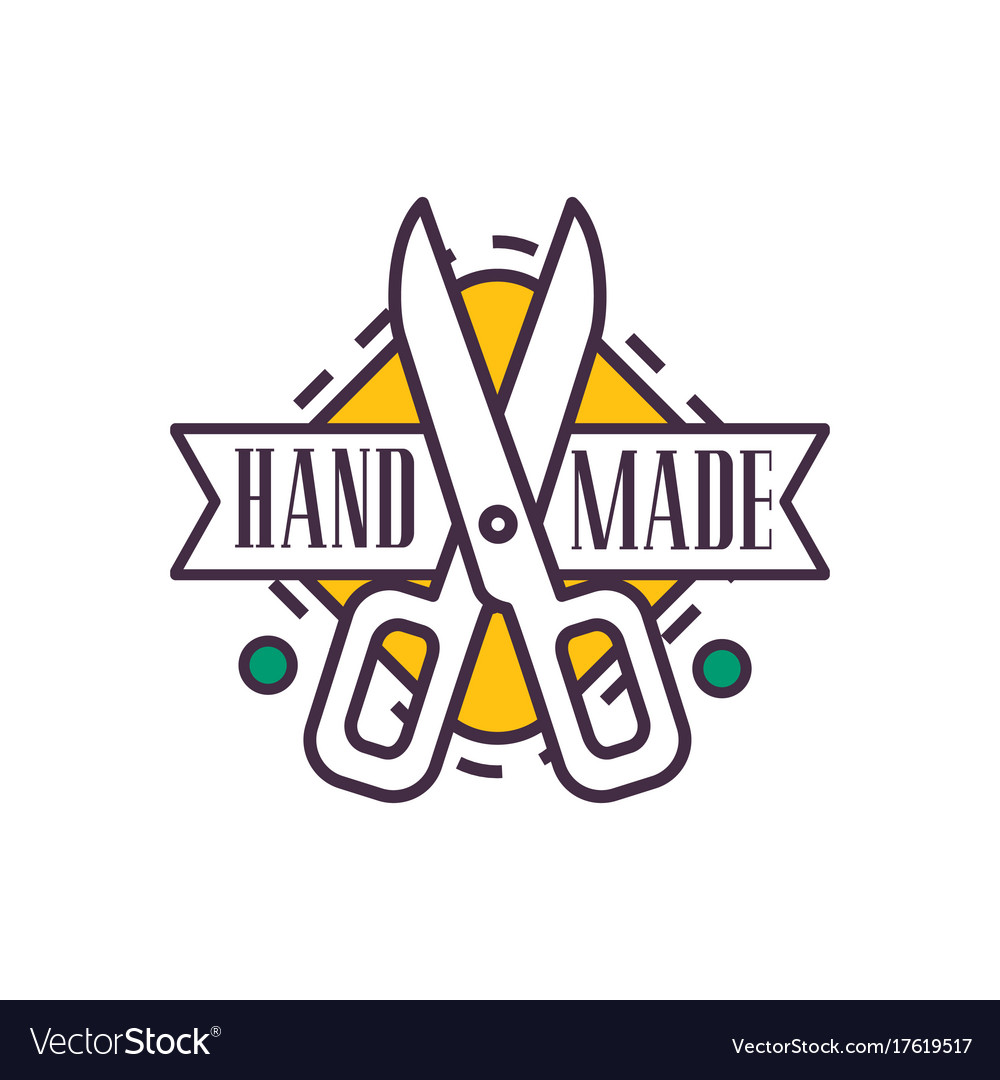 Handmade Logo Template Retro Needlework Craft Vector Image