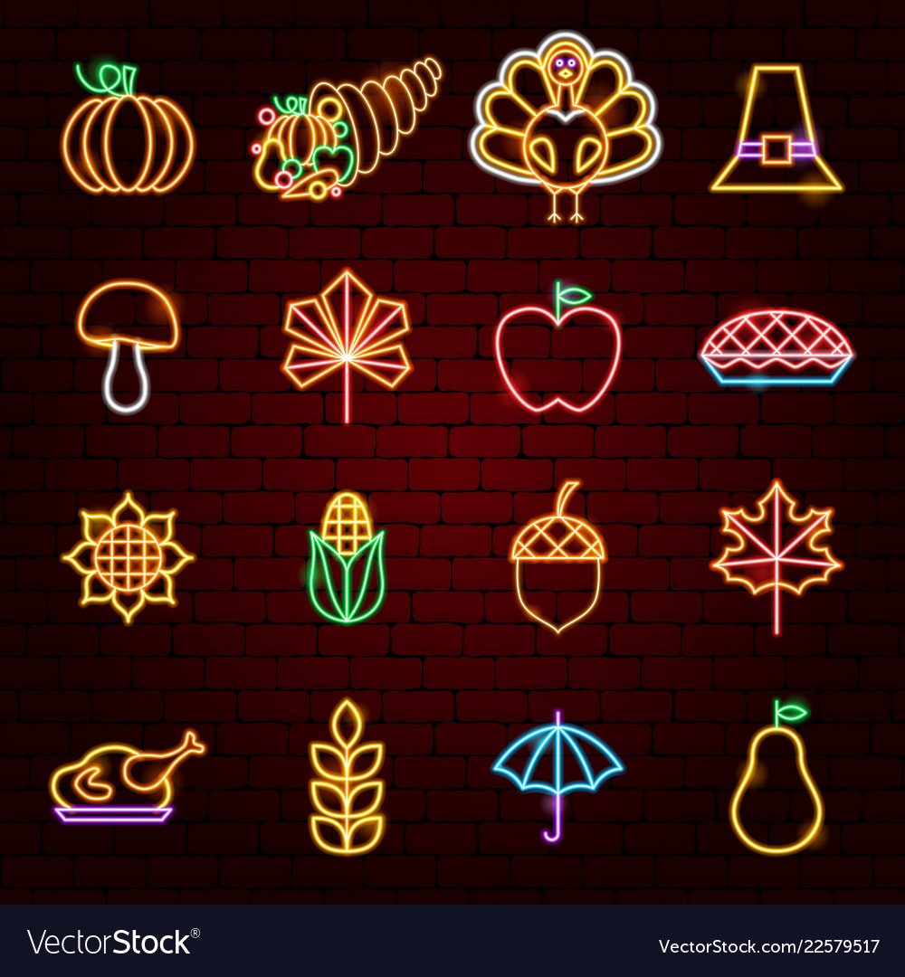 Happy thanksgiving day neon icons