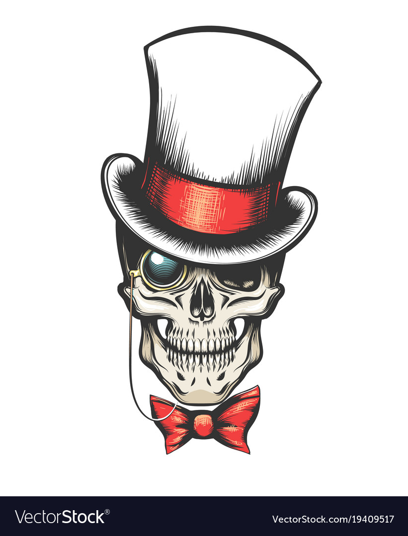 Skull in cylinder hat with monocle