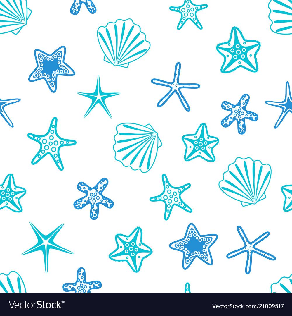 Starfishes and seashells seamless pattern marine