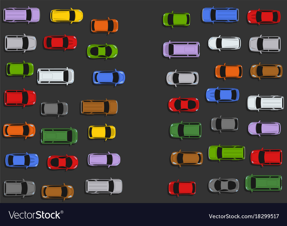 Traffic jam concept top view