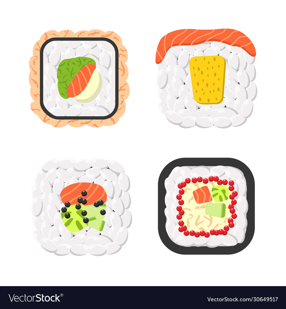 Yummy colored sushi rolls icon set