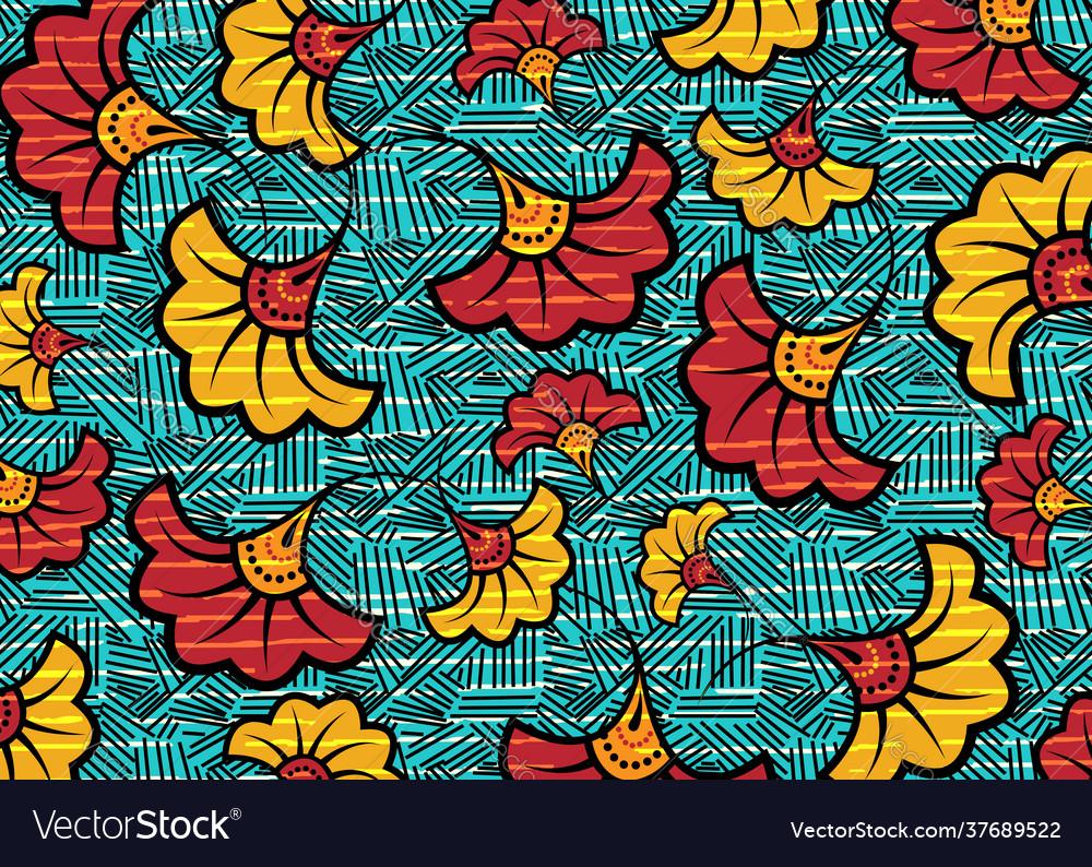 African wax print fabric ethnic handmade flowers