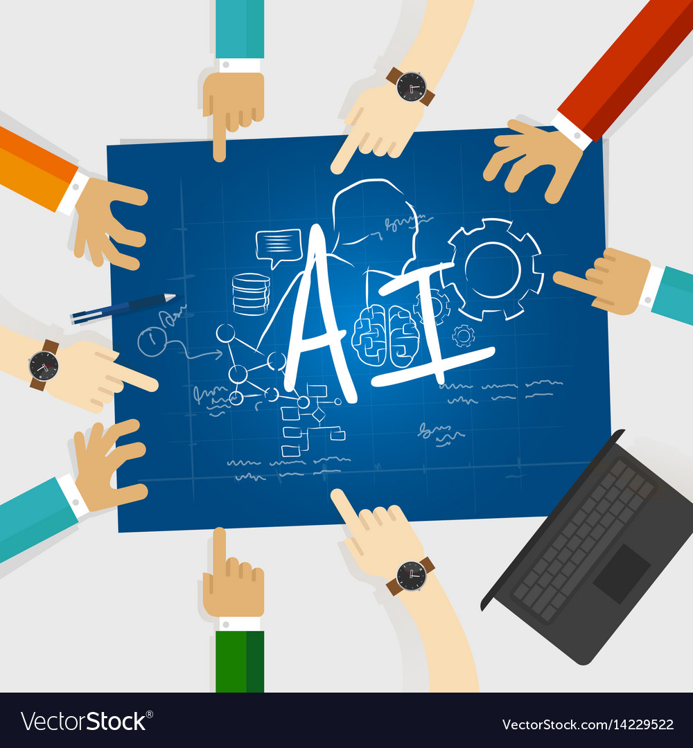 Ai artificial intelligence computer science vector image