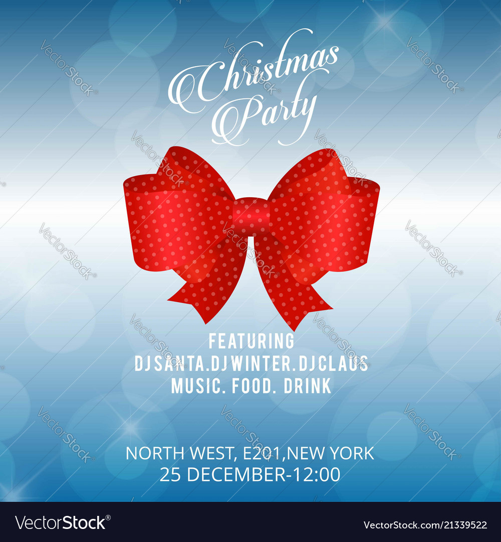 Christmas invitation card with red bow and blue