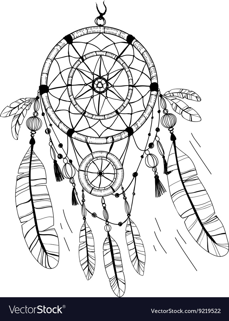 - Dreamcatcher Feathers And Beads Coloring Page Vector Image