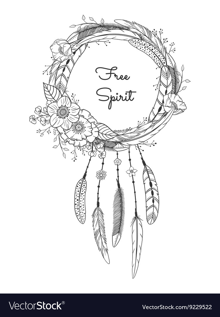 Dreamcatcher with feathers and flowers