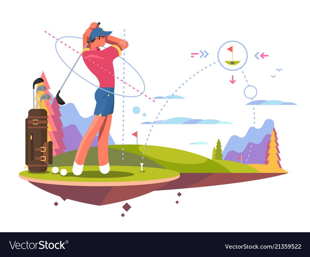 Male golfer playing golf