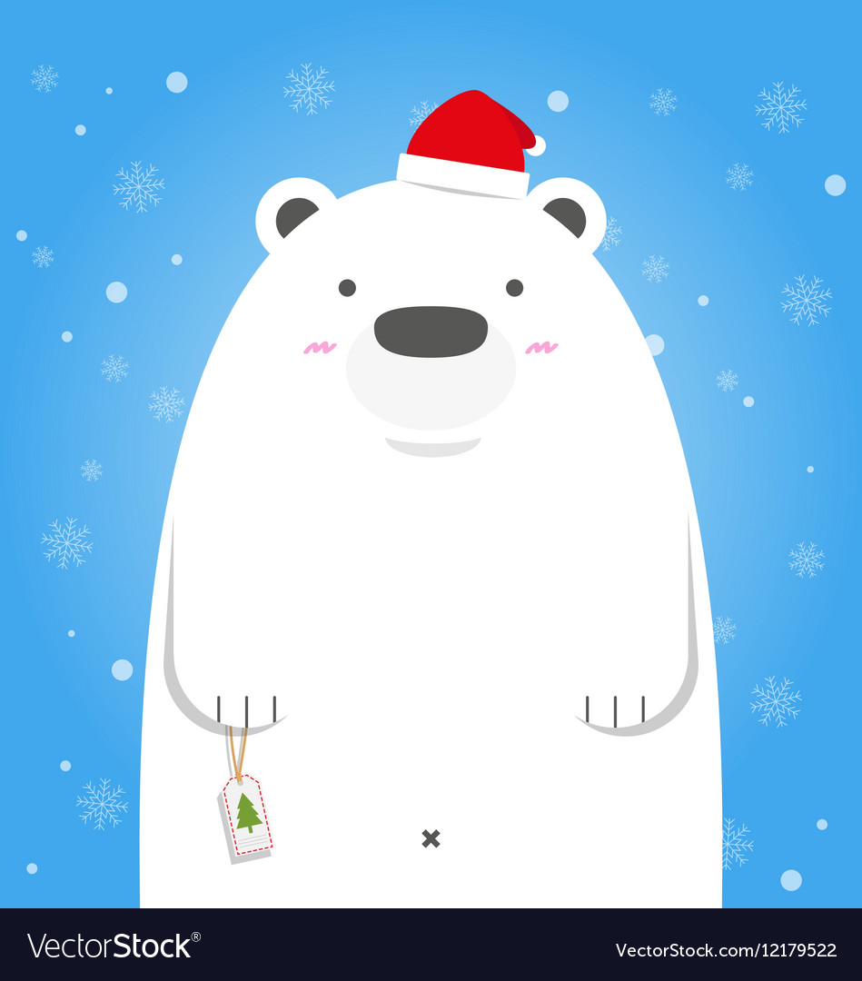 9a5b4828 Merry Christmas white polar bear wear santa hat