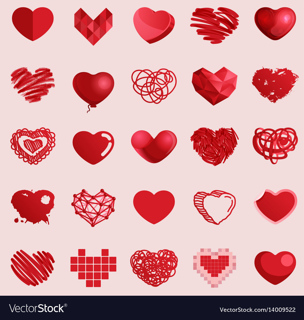 Red heart set icons