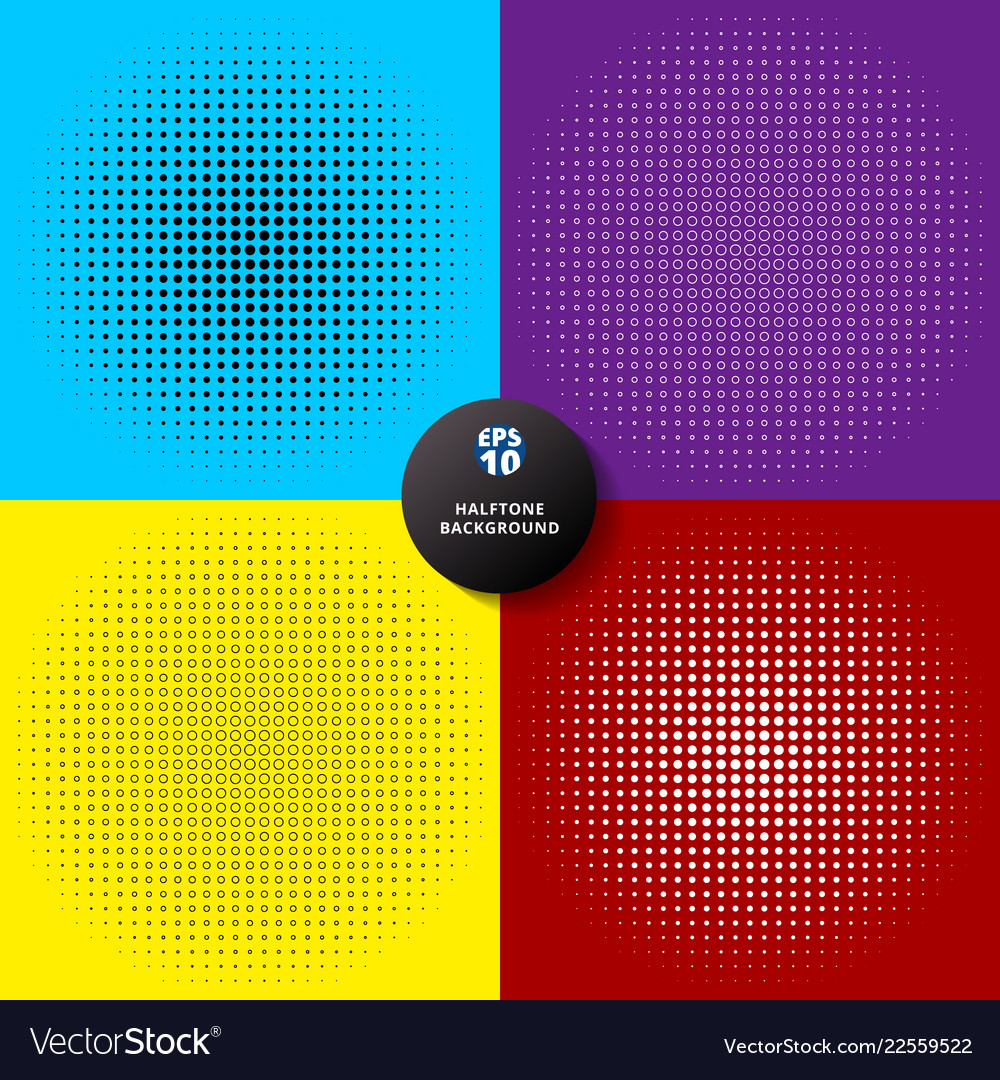 Set of abstract radial dotted halftone circle