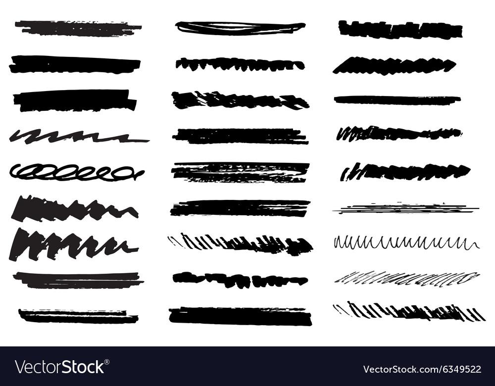 Set of black grunge brush strokes Black