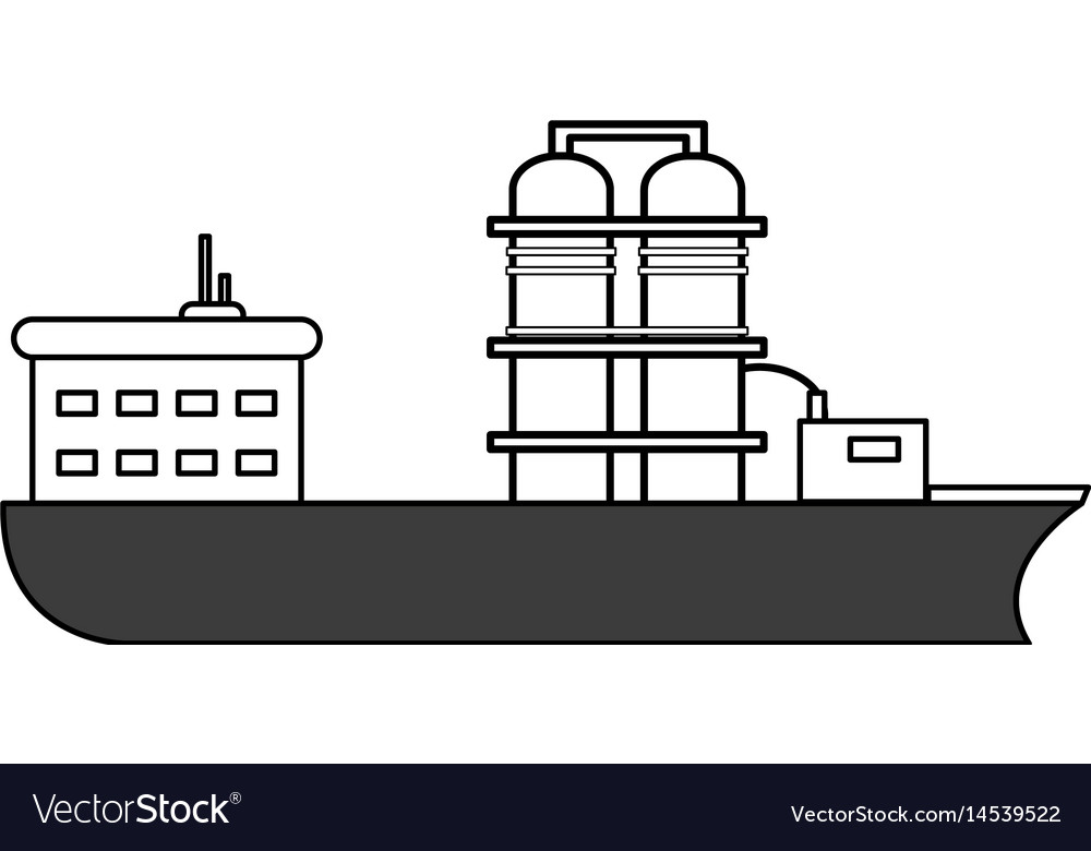 Sketch color silhouette boat cargo with platform vector image