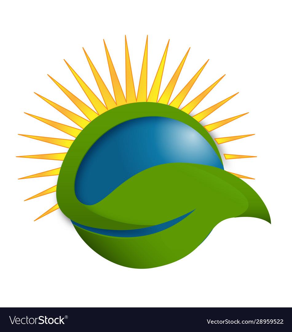 Sun and leaf wellness life and health logo icon