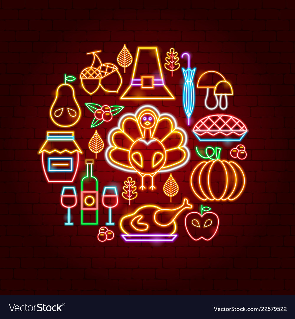 Thanksgiving day neon concept