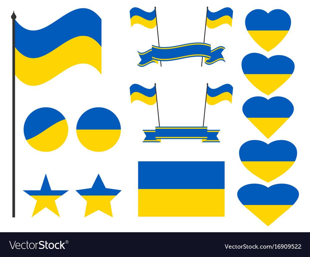 Ukraine flag set collection of symbols flag