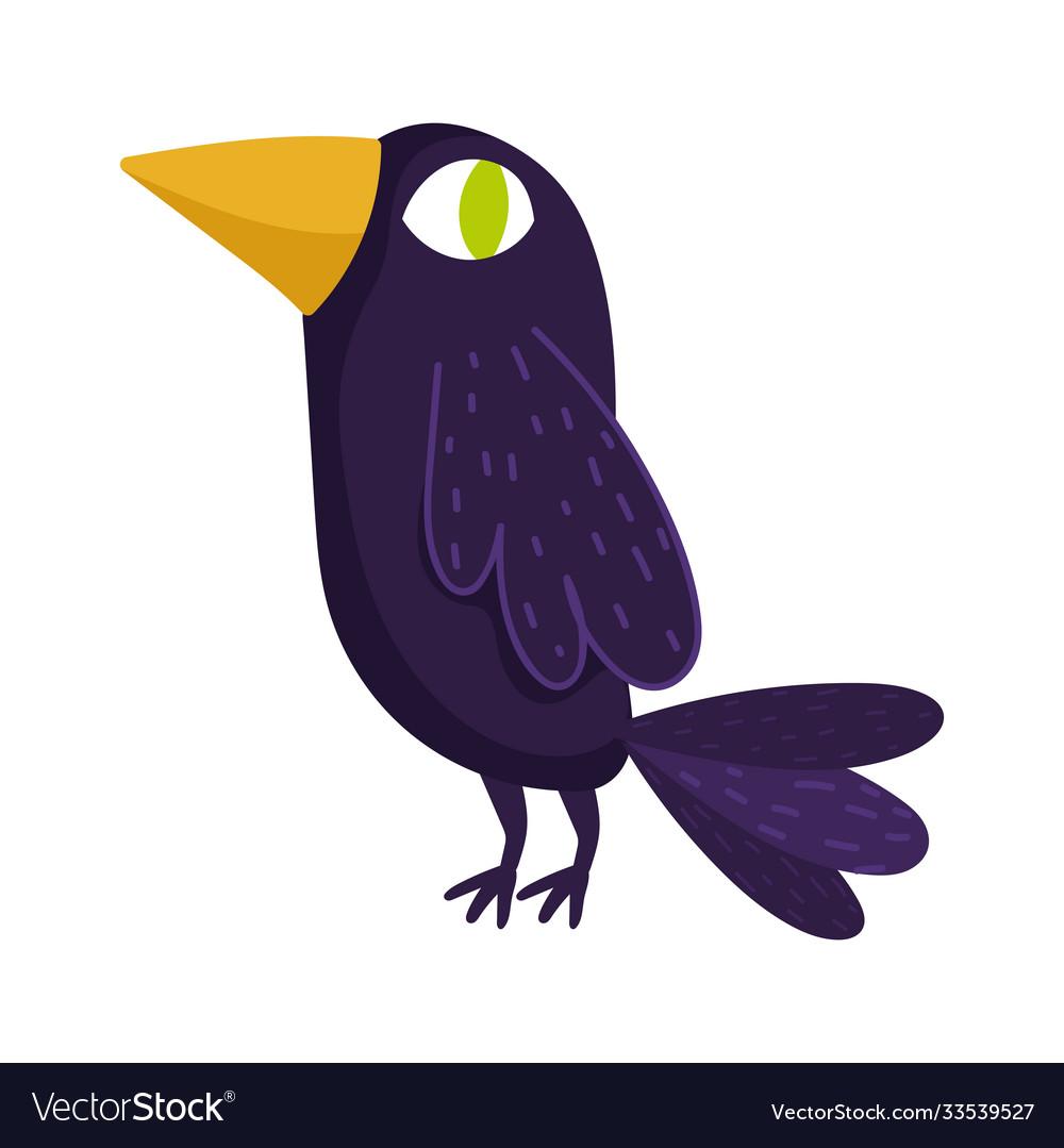 Black raven bird green eye cartoon isolated icon