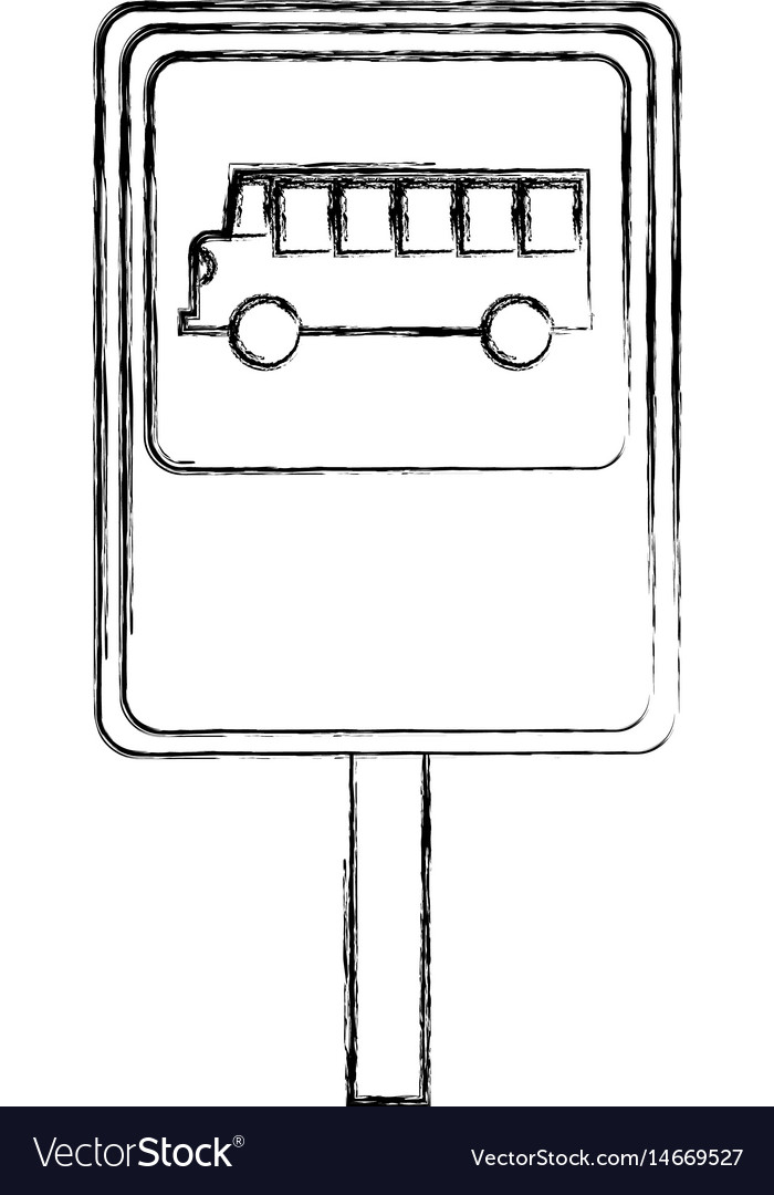 Bus stop sign isolated icon