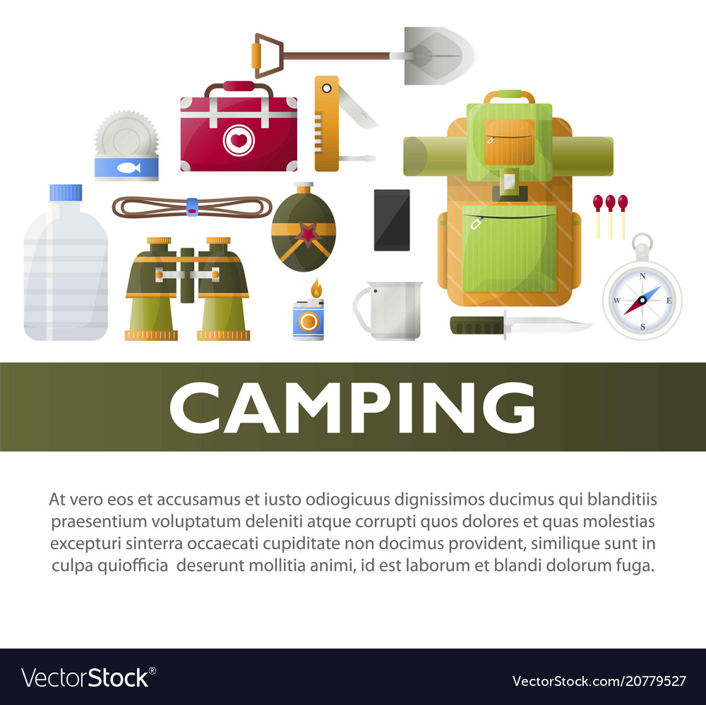 Camp poster of camping tools