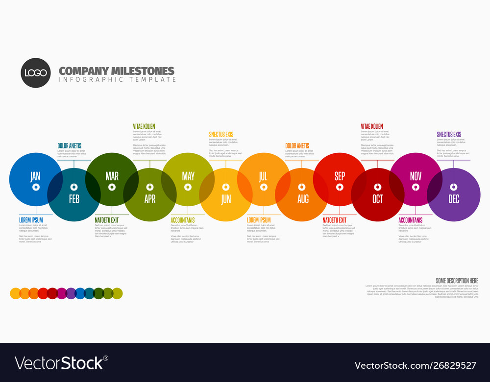 full year timeline template royalty free vector image