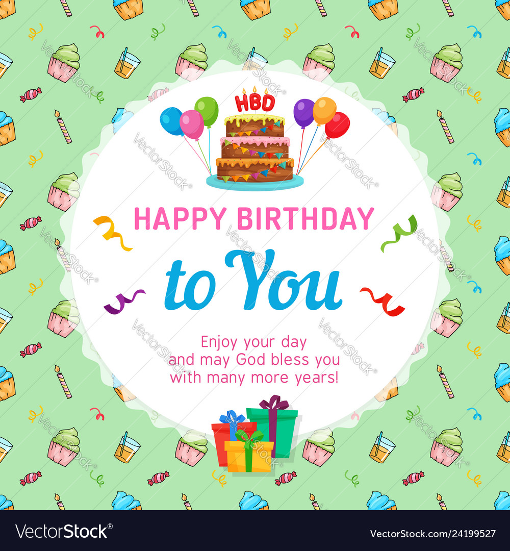 Happy Birthday Card Template With Cake Vector Image