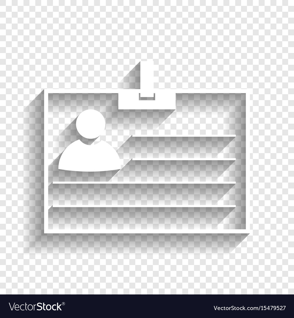 id card sign white icon with soft shadow vector image vectorstock