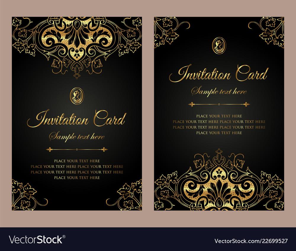 Invitation Card Luxury Gold Template Design
