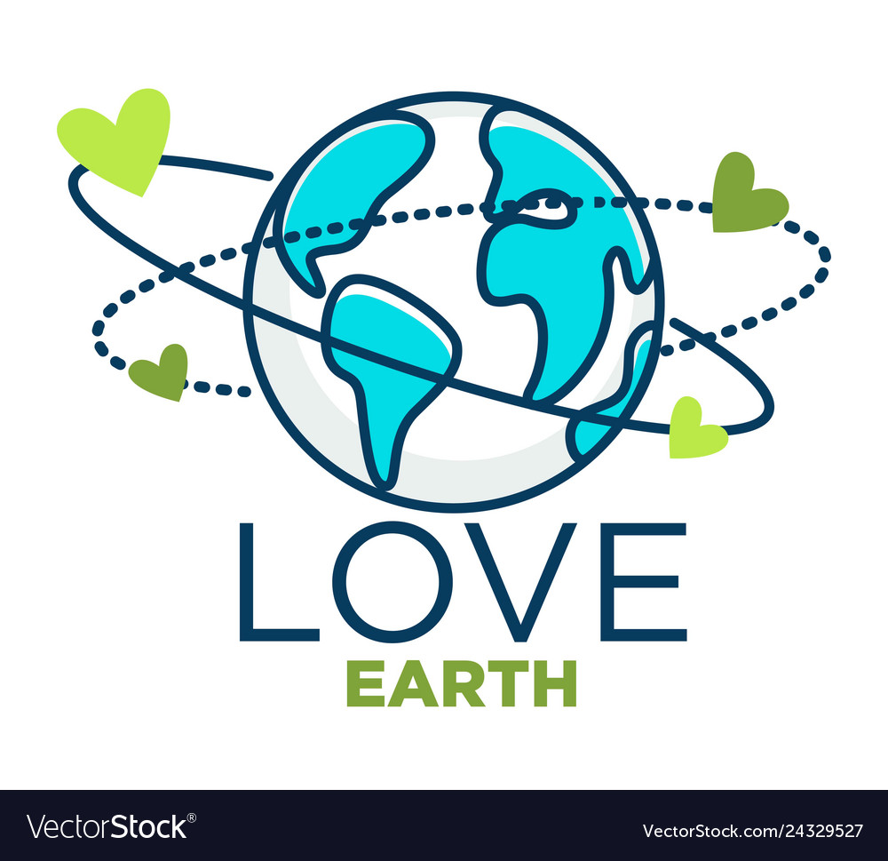 Love earth isolated icon planet protection