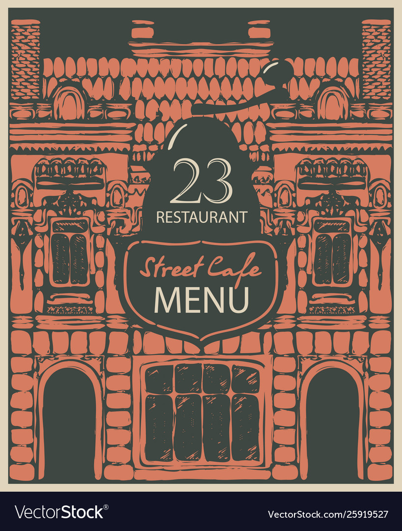 Menu street cafe with facade old house